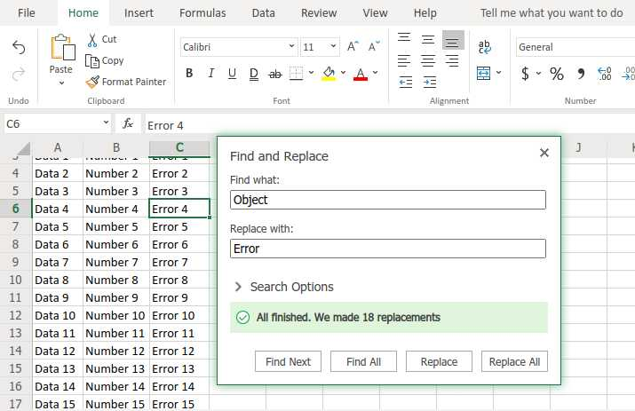 How to replace word in excel